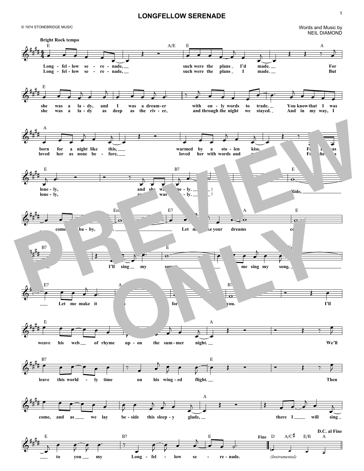 Longfellow Serenade (Lead Sheet / Fake Book)