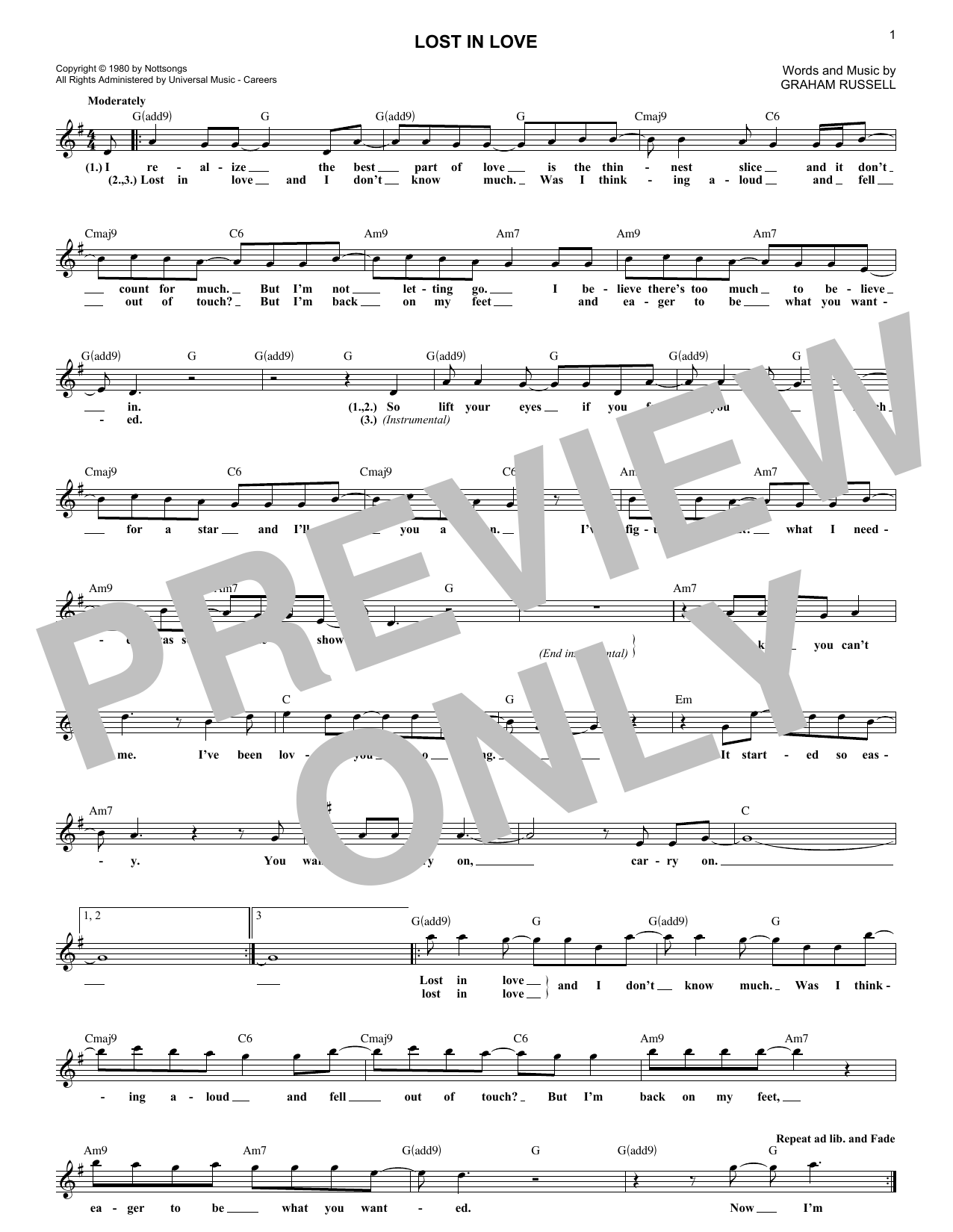 Lost In Love (Lead Sheet / Fake Book)