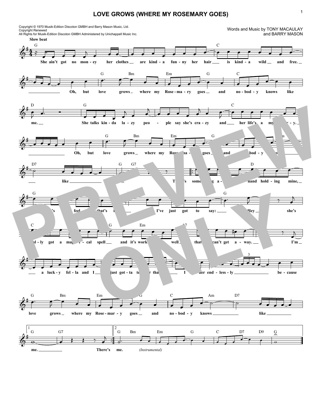 Love Grows (Where My Rosemary Goes) (Lead Sheet / Fake Book)