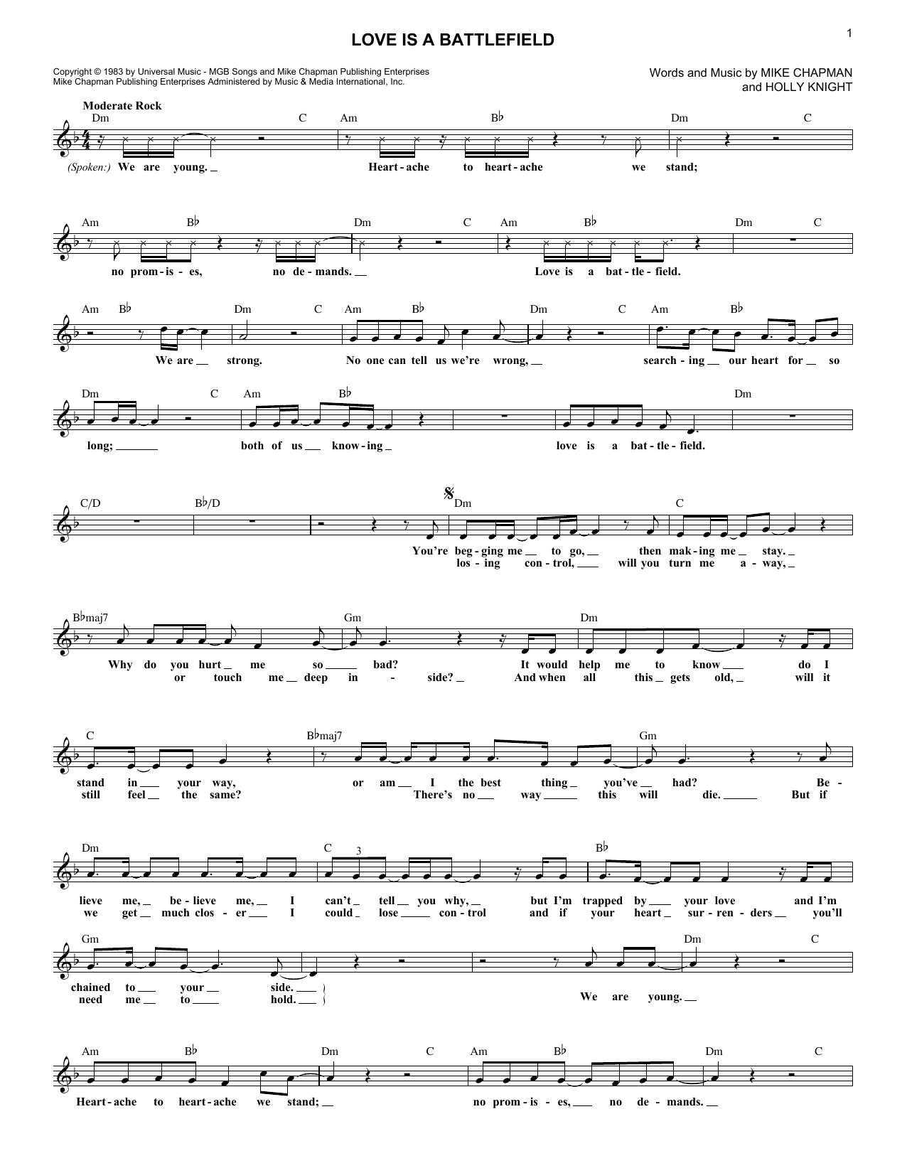 Love Is A Battlefield (Lead Sheet / Fake Book)