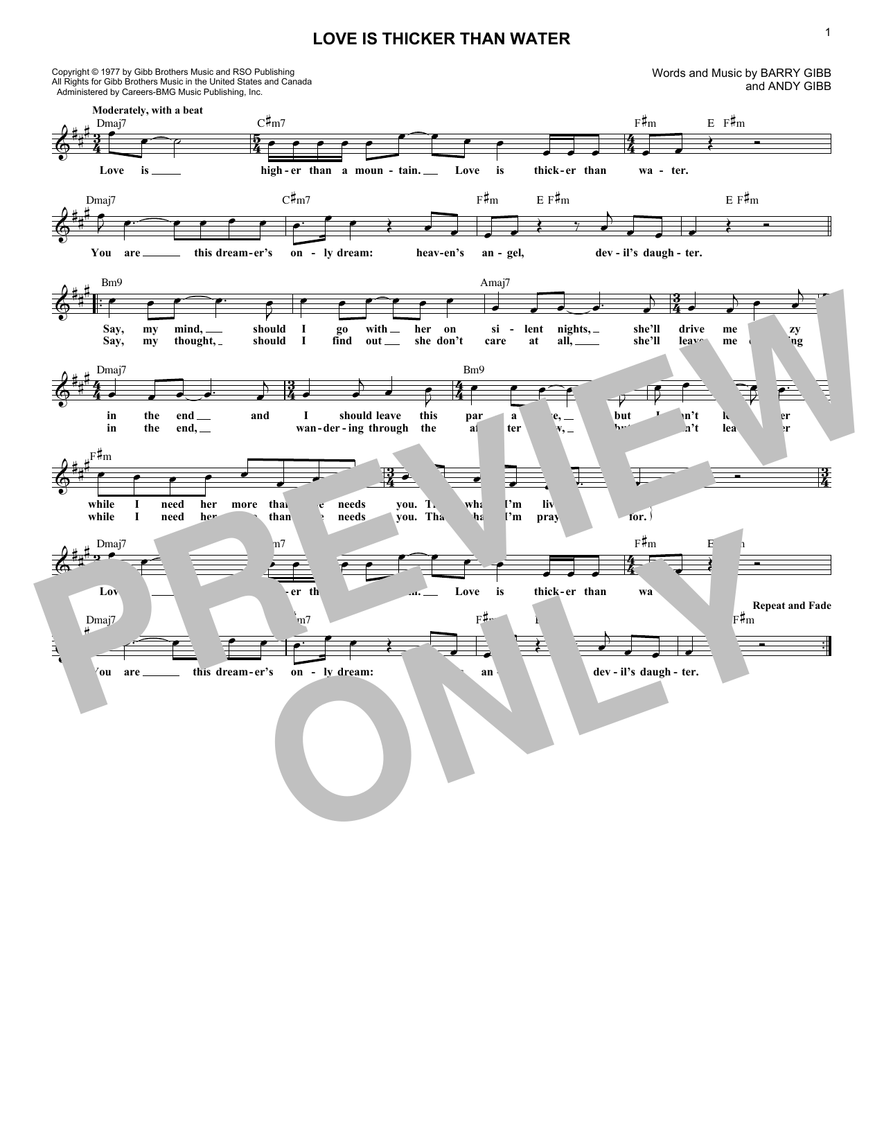 Love Is Thicker Than Water (Lead Sheet / Fake Book)