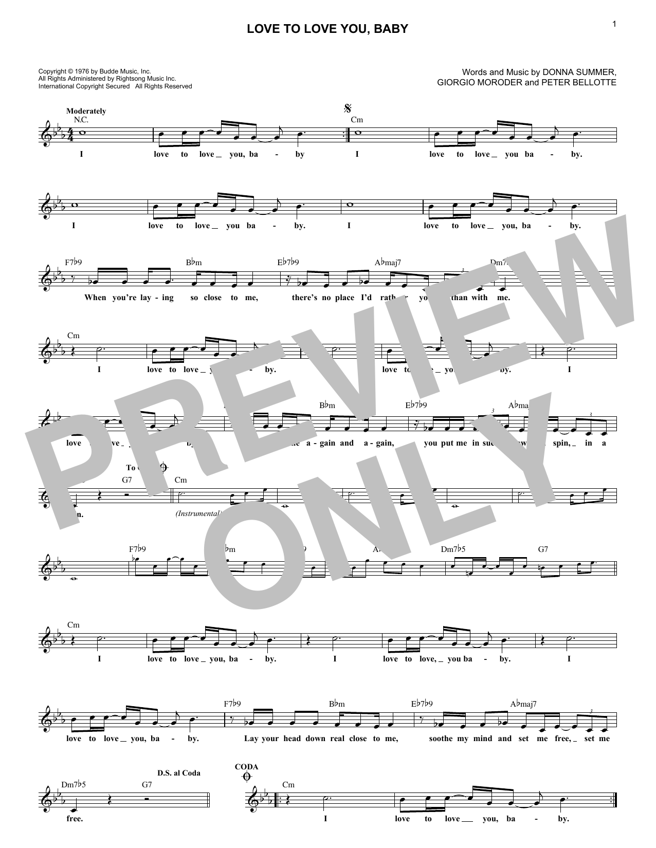 Love To Love You, Baby (Lead Sheet / Fake Book)
