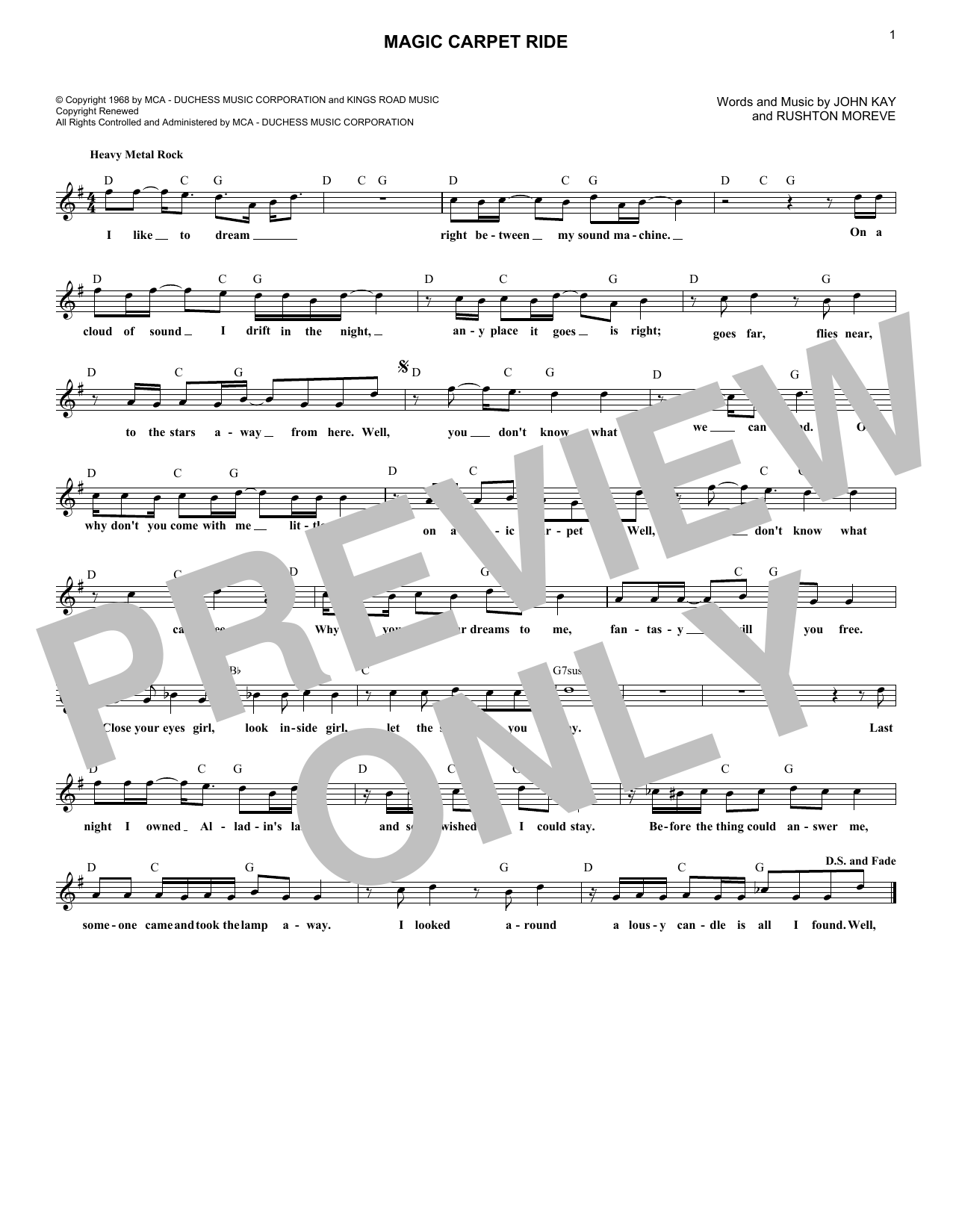 Magic Carpet Ride (Lead Sheet / Fake Book)