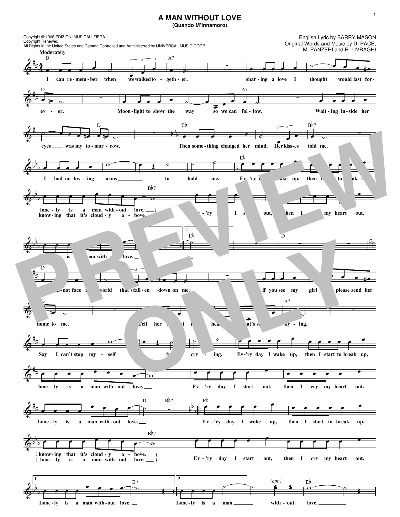 A Man Without Love (Quando M'Innamoro) (Lead Sheet / Fake Book)