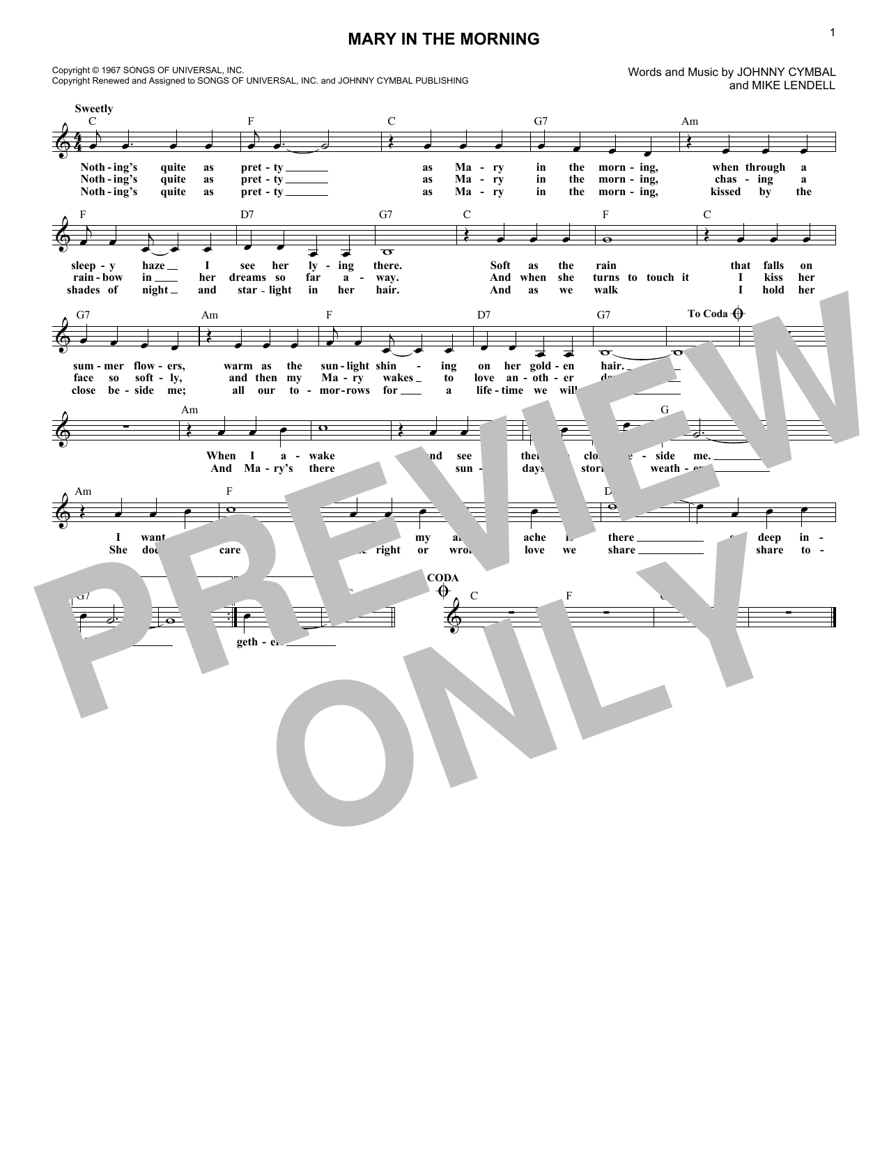 Mary In The Morning (Lead Sheet / Fake Book)