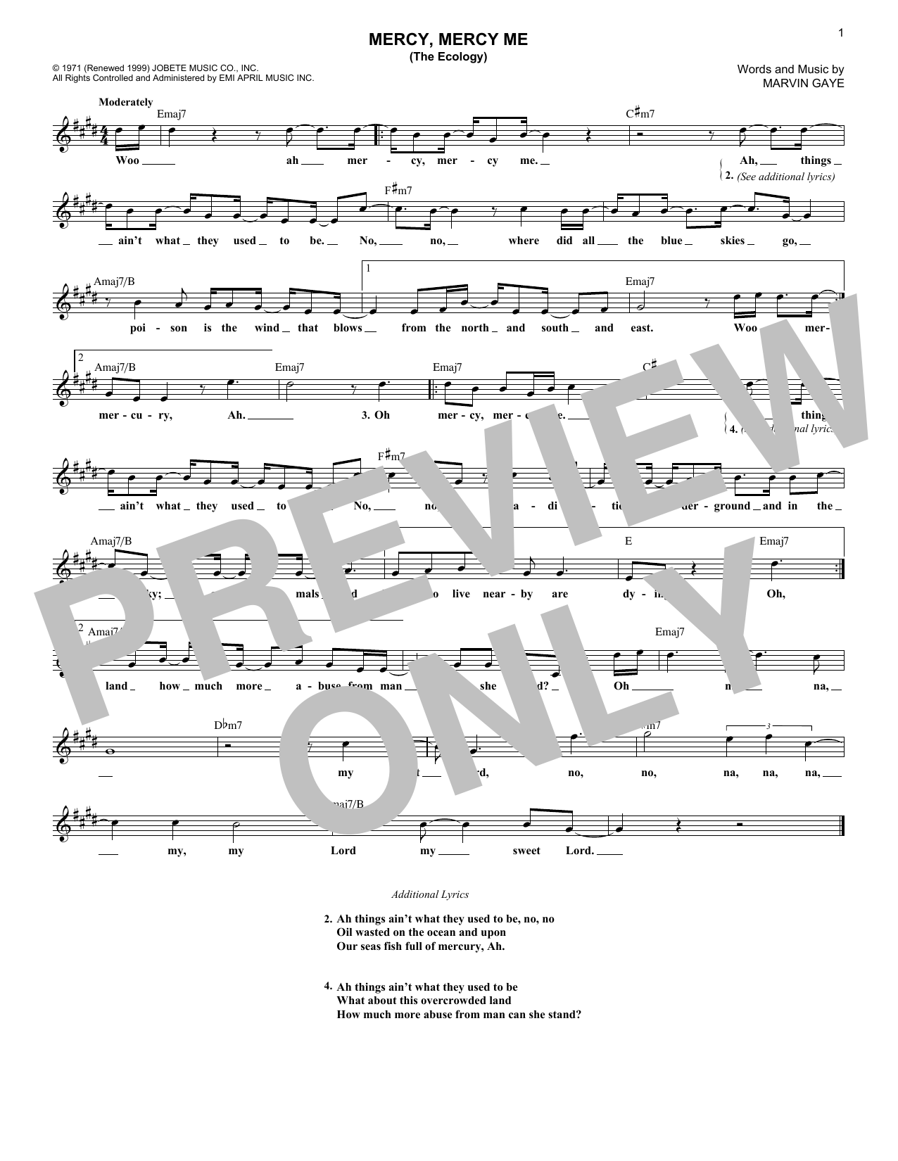 Mercy, Mercy Me (The Ecology) (Lead Sheet / Fake Book)