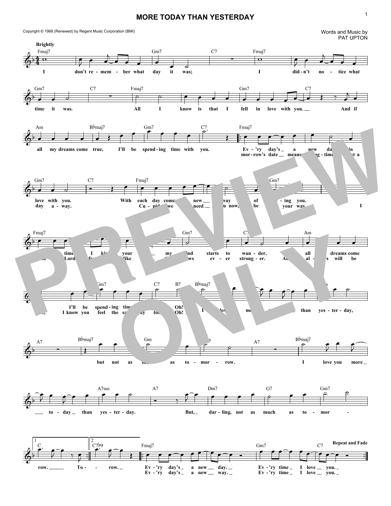 More Today Than Yesterday (Lead Sheet / Fake Book)