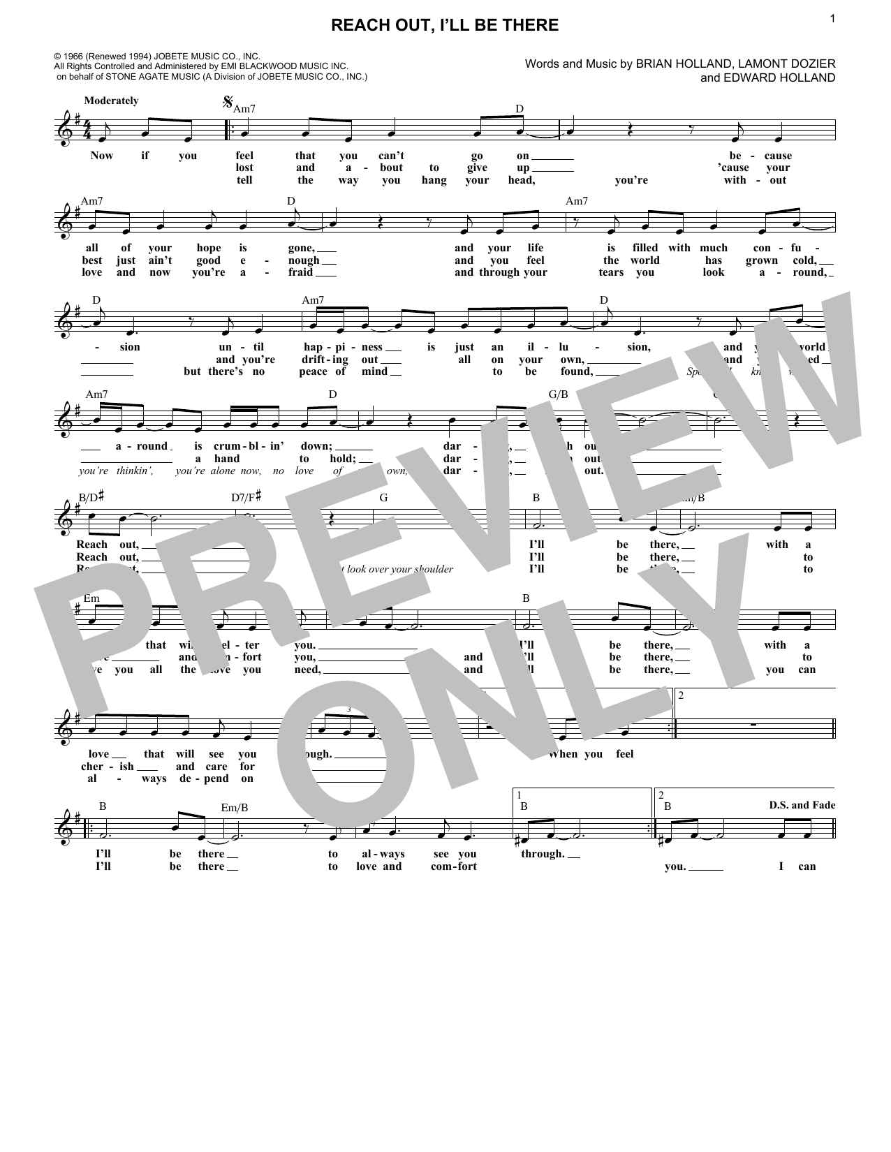 Reach Out And I'll Be There (Lead Sheet / Fake Book)