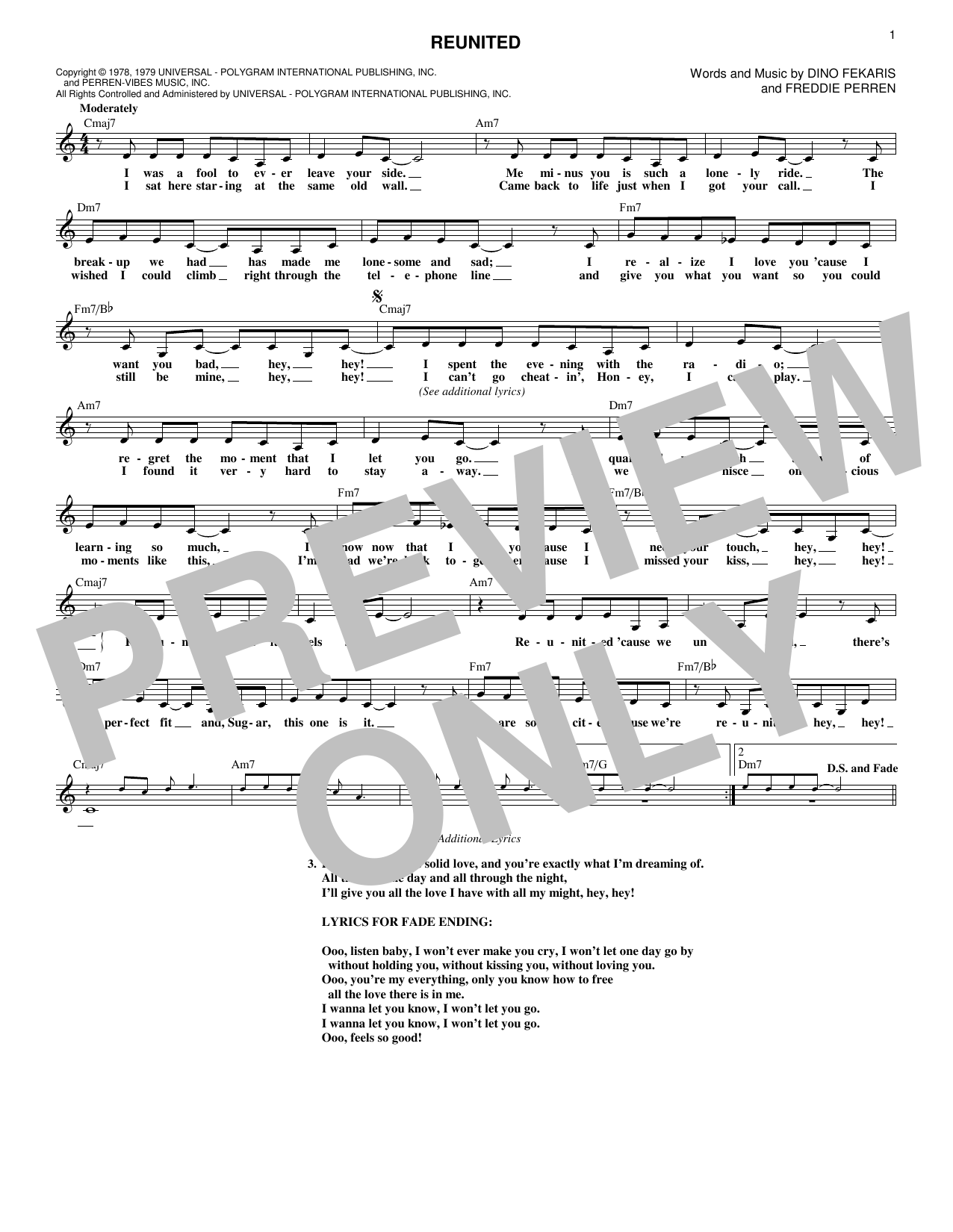 Reunited (Lead Sheet / Fake Book)
