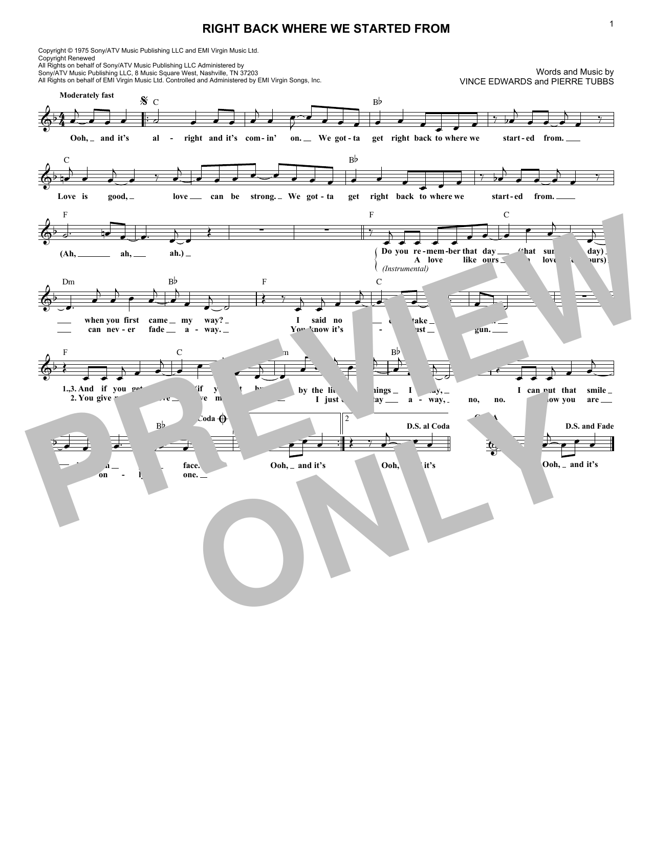 Right Back Where We Started From (Lead Sheet / Fake Book)
