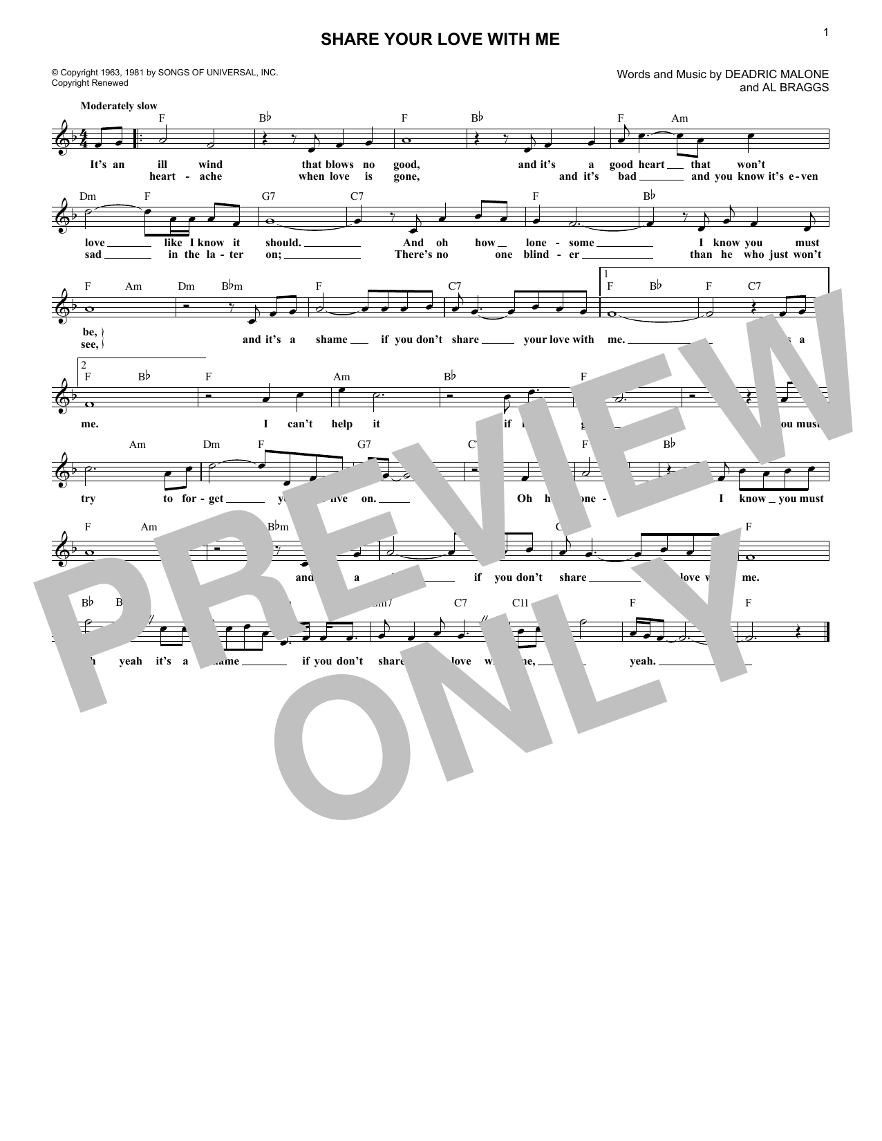 Share Your Love With Me (Lead Sheet / Fake Book)