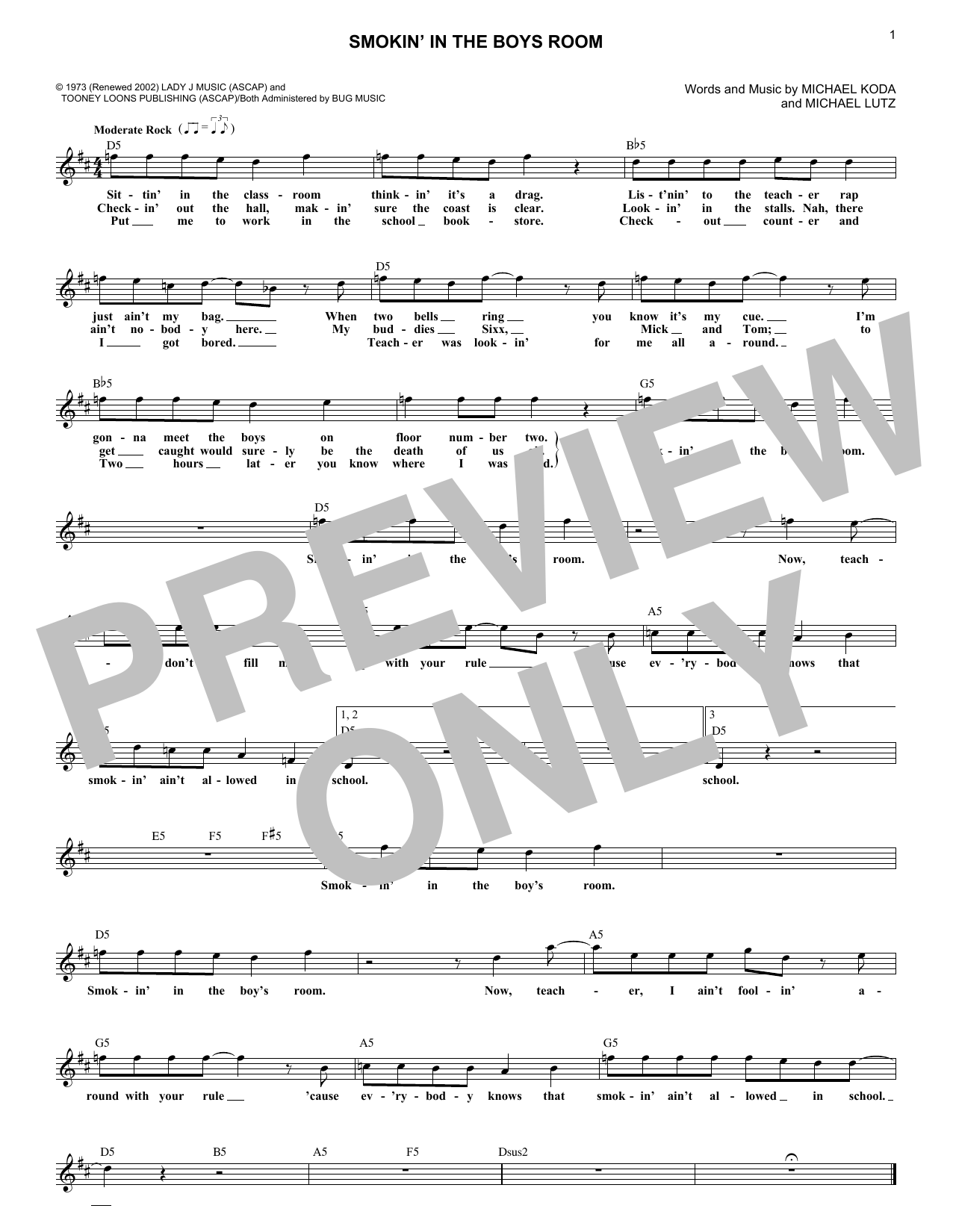 Smokin' In The Boys Room (Lead Sheet / Fake Book)