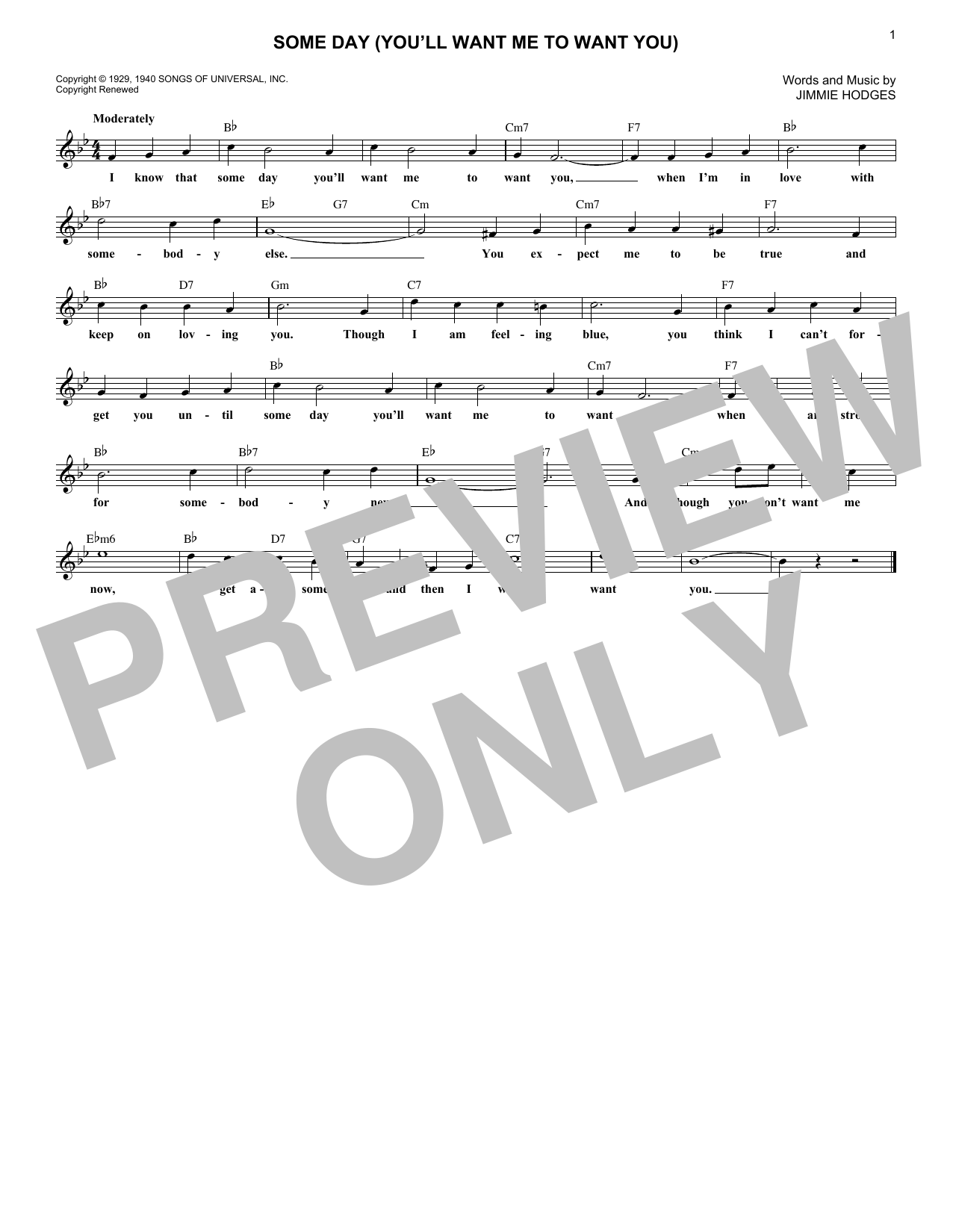 Some Day (You'll Want Me To Want You) (Lead Sheet / Fake Book)