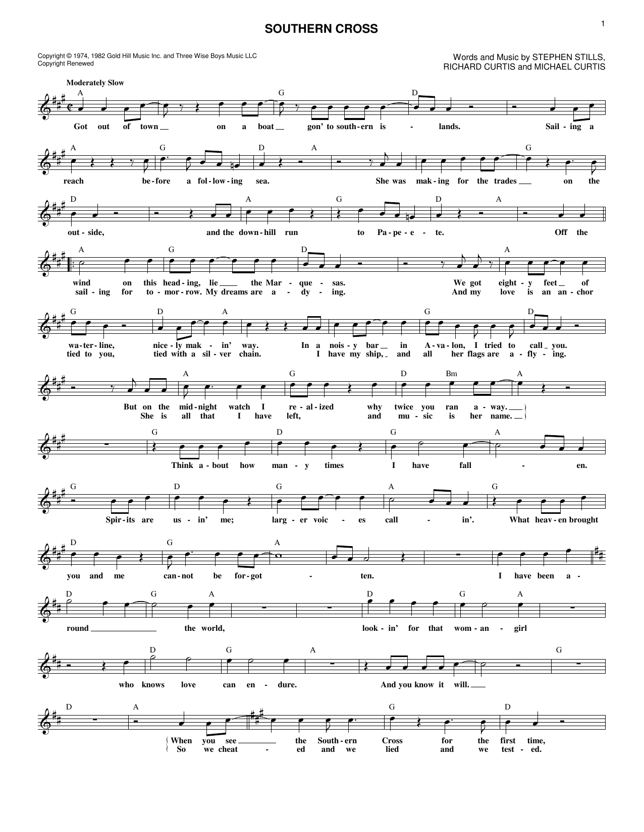Southern Cross (Lead Sheet / Fake Book)