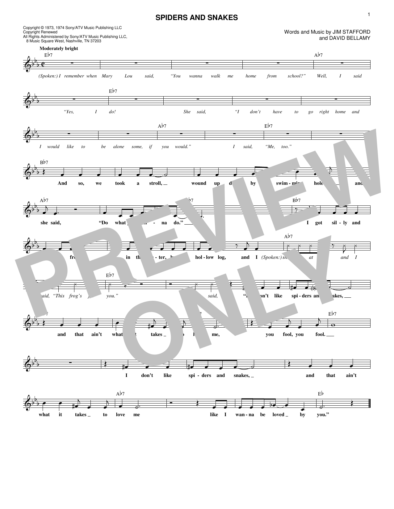 Spiders And Snakes (Lead Sheet / Fake Book)
