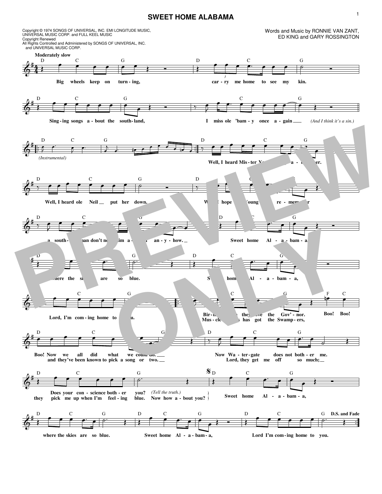 Sweet Home Alabama (Lead Sheet / Fake Book)