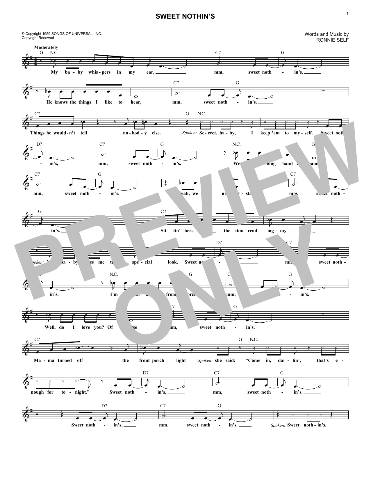 Sweet Nothin's (Lead Sheet / Fake Book)