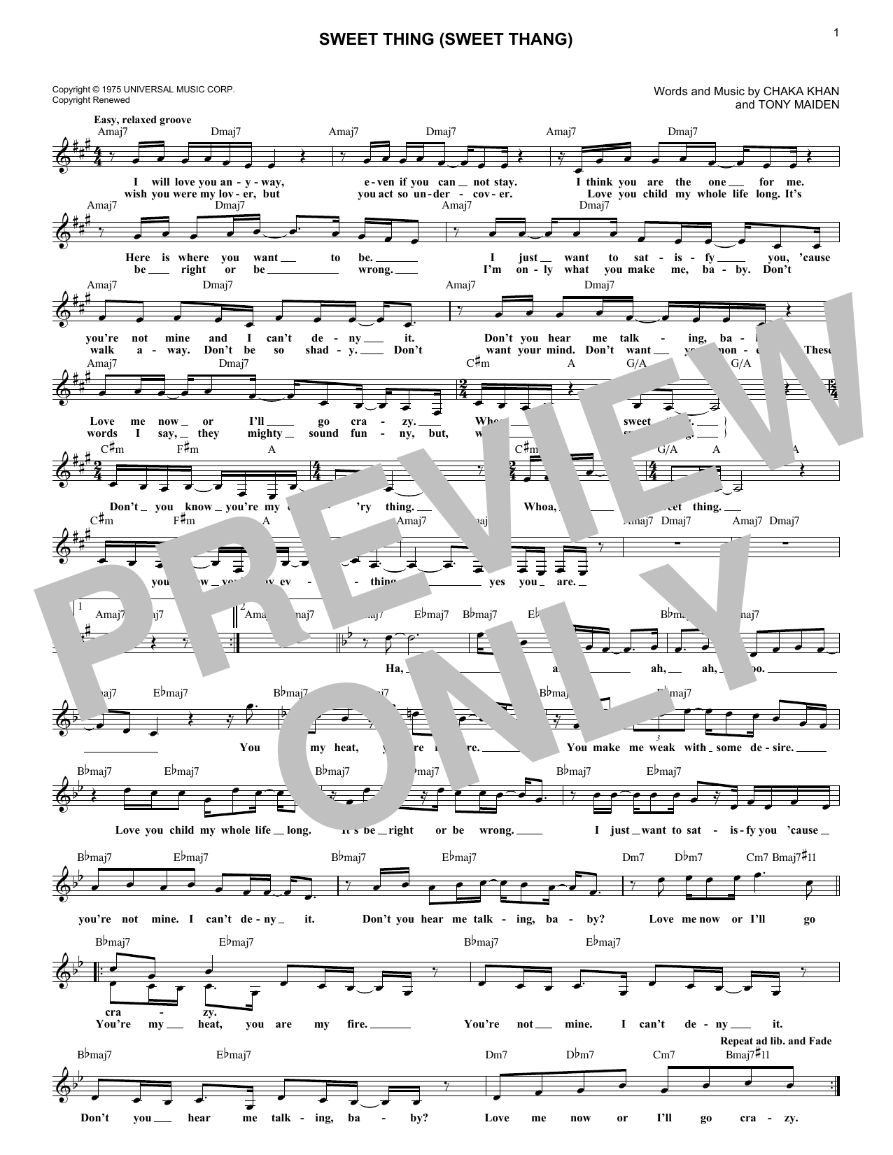 Sweet Thing (Sweet Thang) Sheet Music