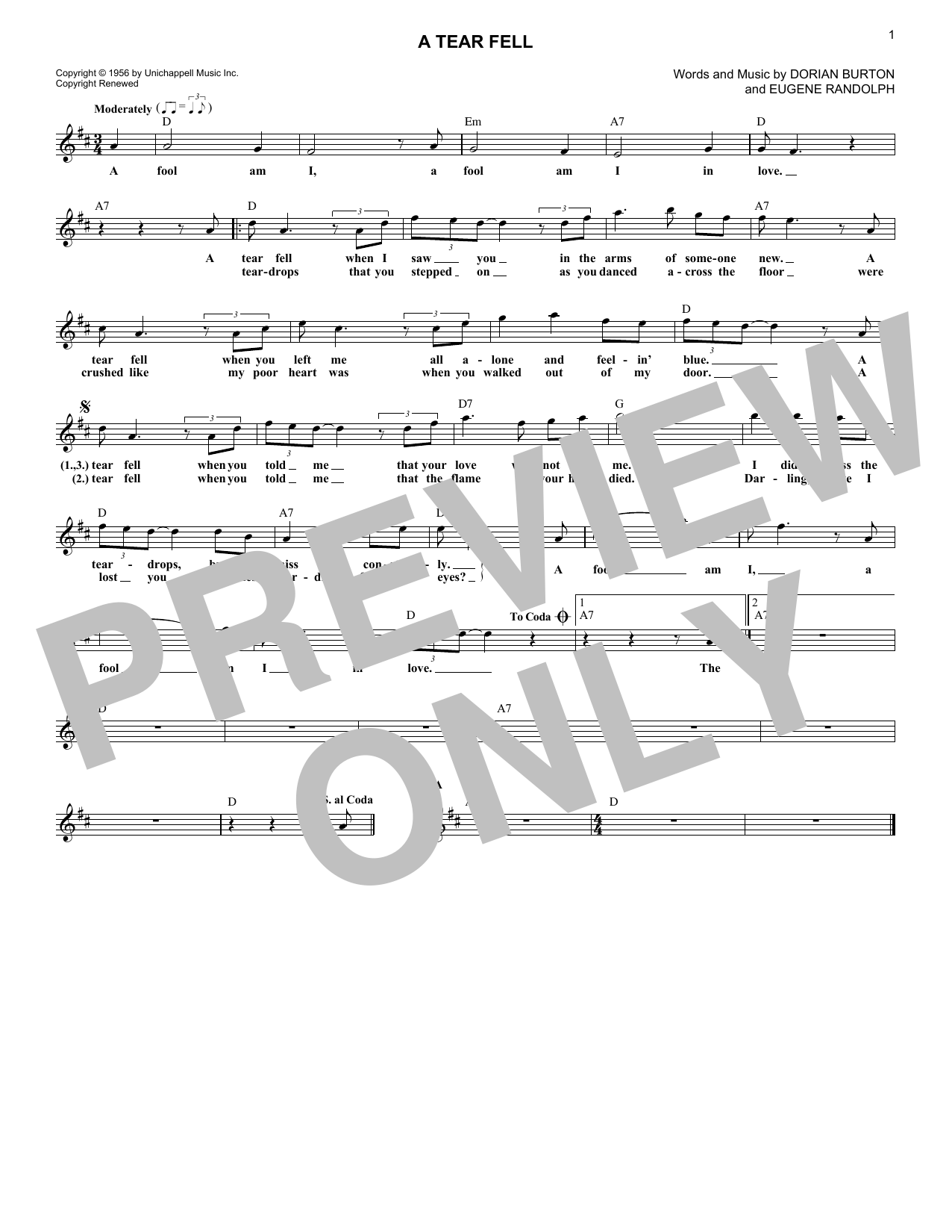 A Tear Fell (Lead Sheet / Fake Book)