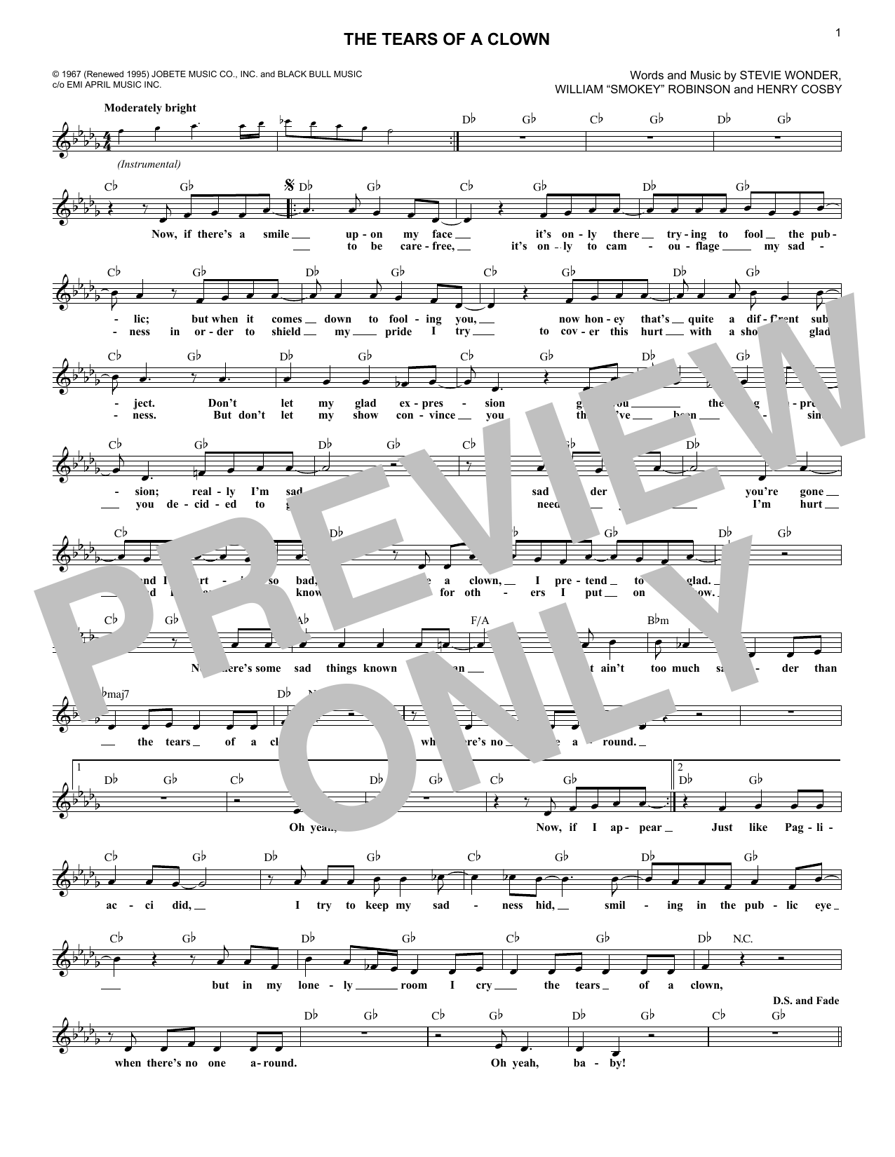 The Tears Of A Clown (Lead Sheet / Fake Book)