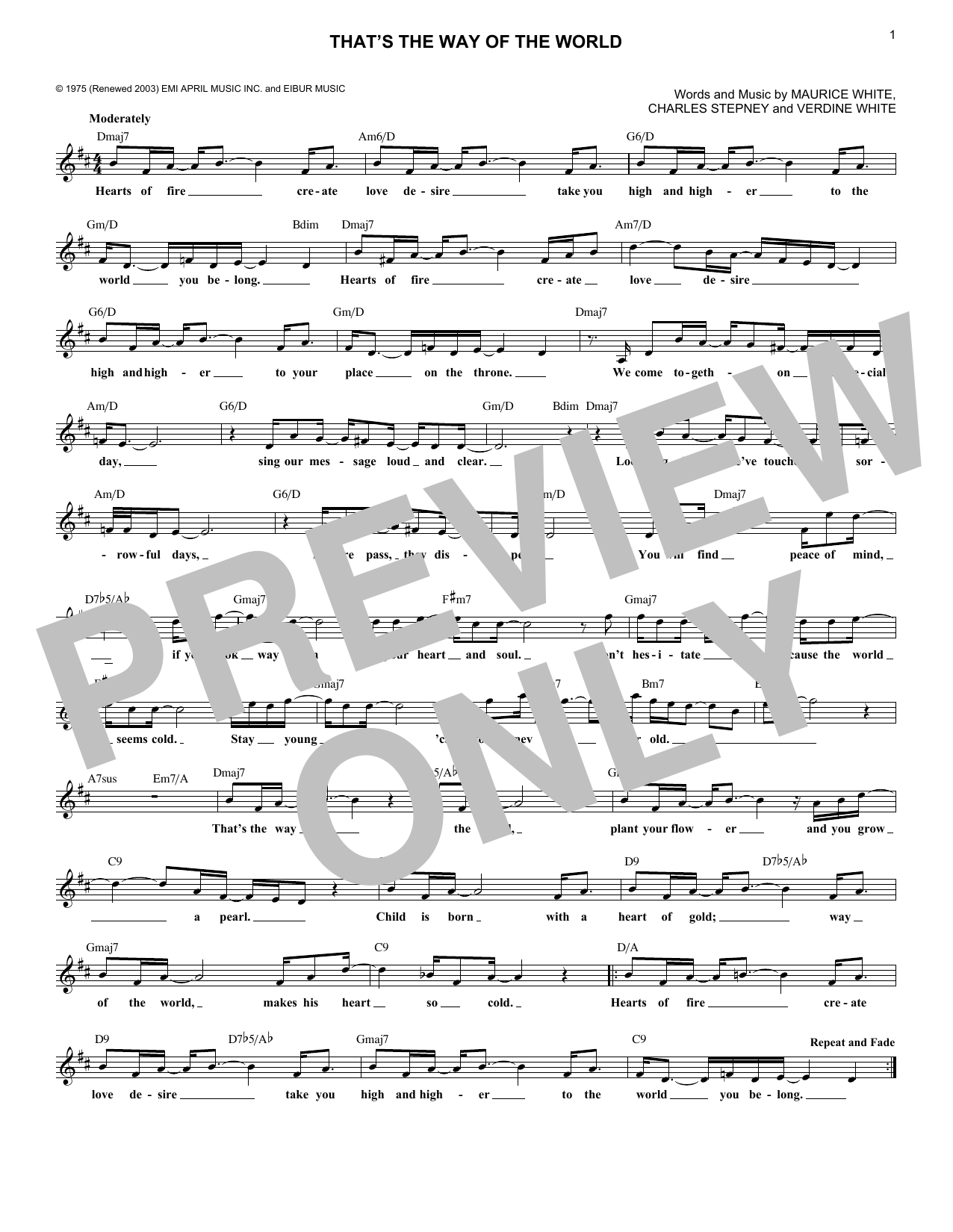 That's The Way Of The World (Lead Sheet / Fake Book)