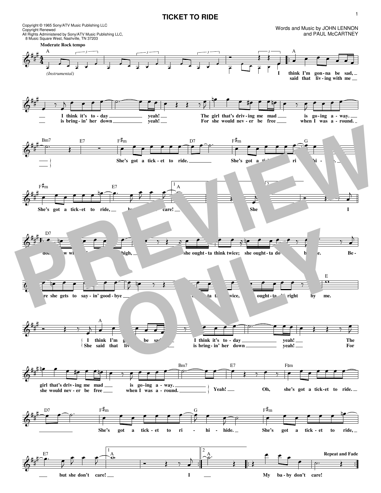 Ticket To Ride (Lead Sheet / Fake Book)