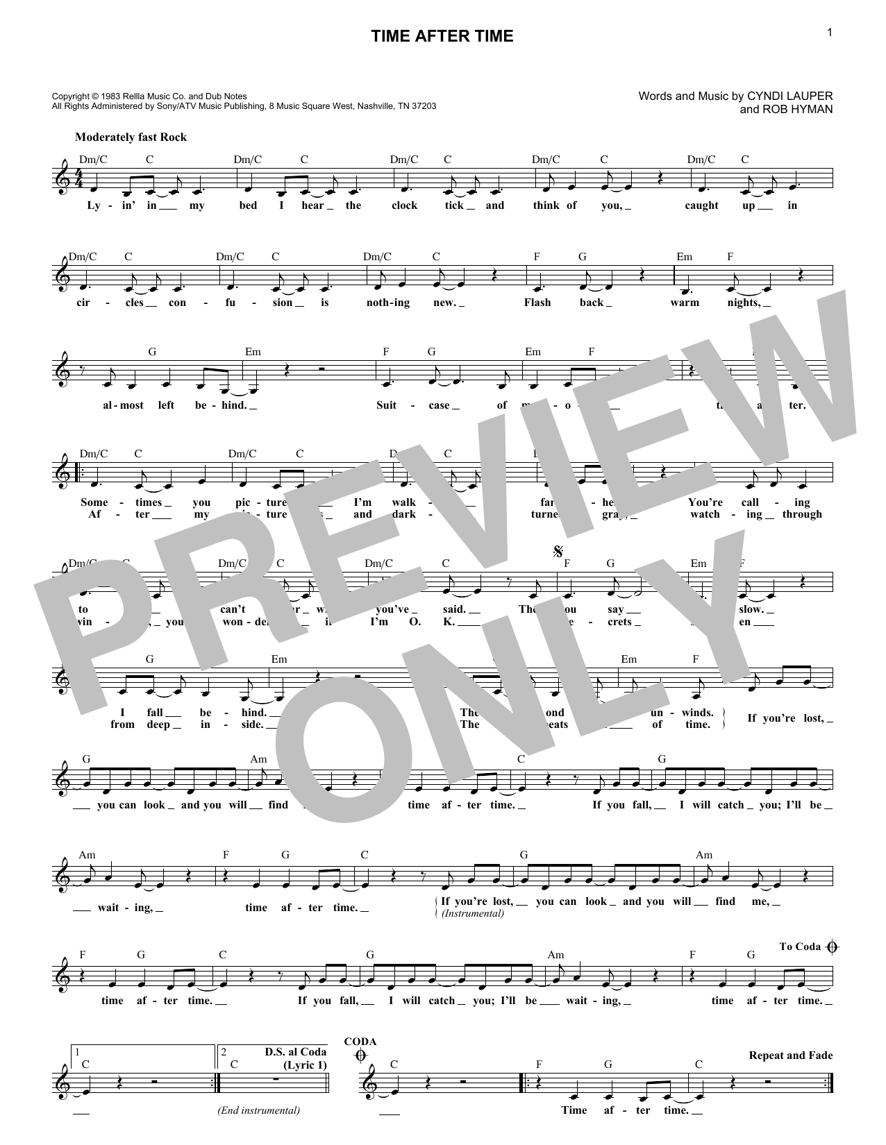 Time After Time (Lead Sheet / Fake Book)