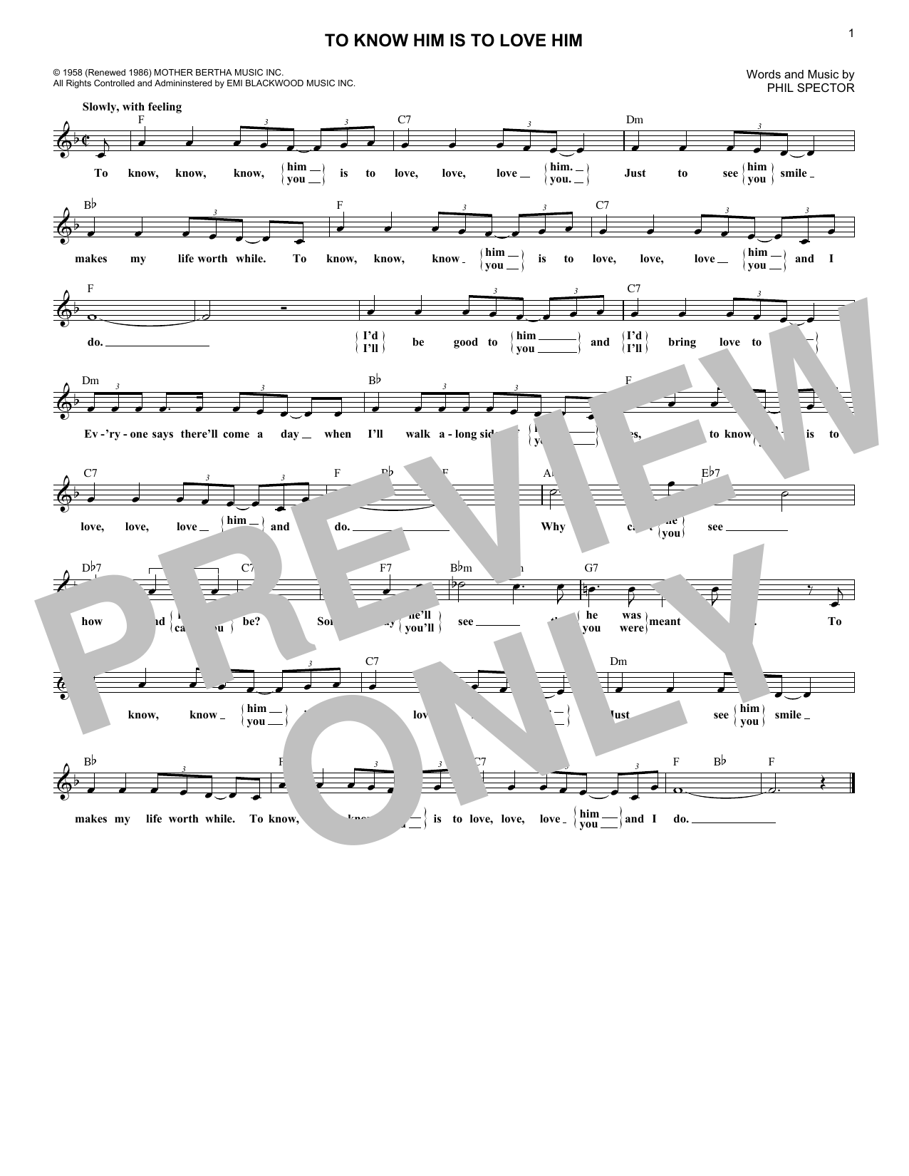To Know Him Is To Love Him (Lead Sheet / Fake Book)
