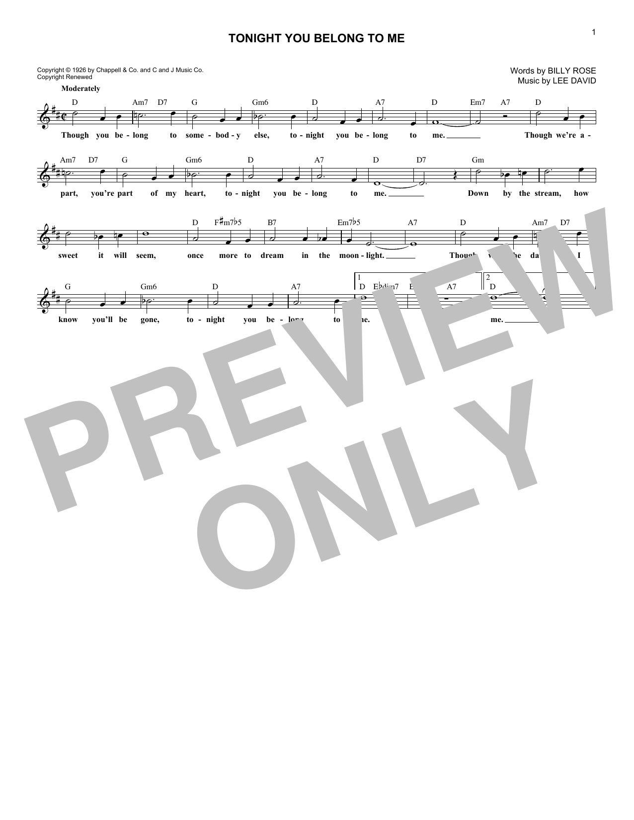 Tonight You Belong To Me (Lead Sheet / Fake Book)