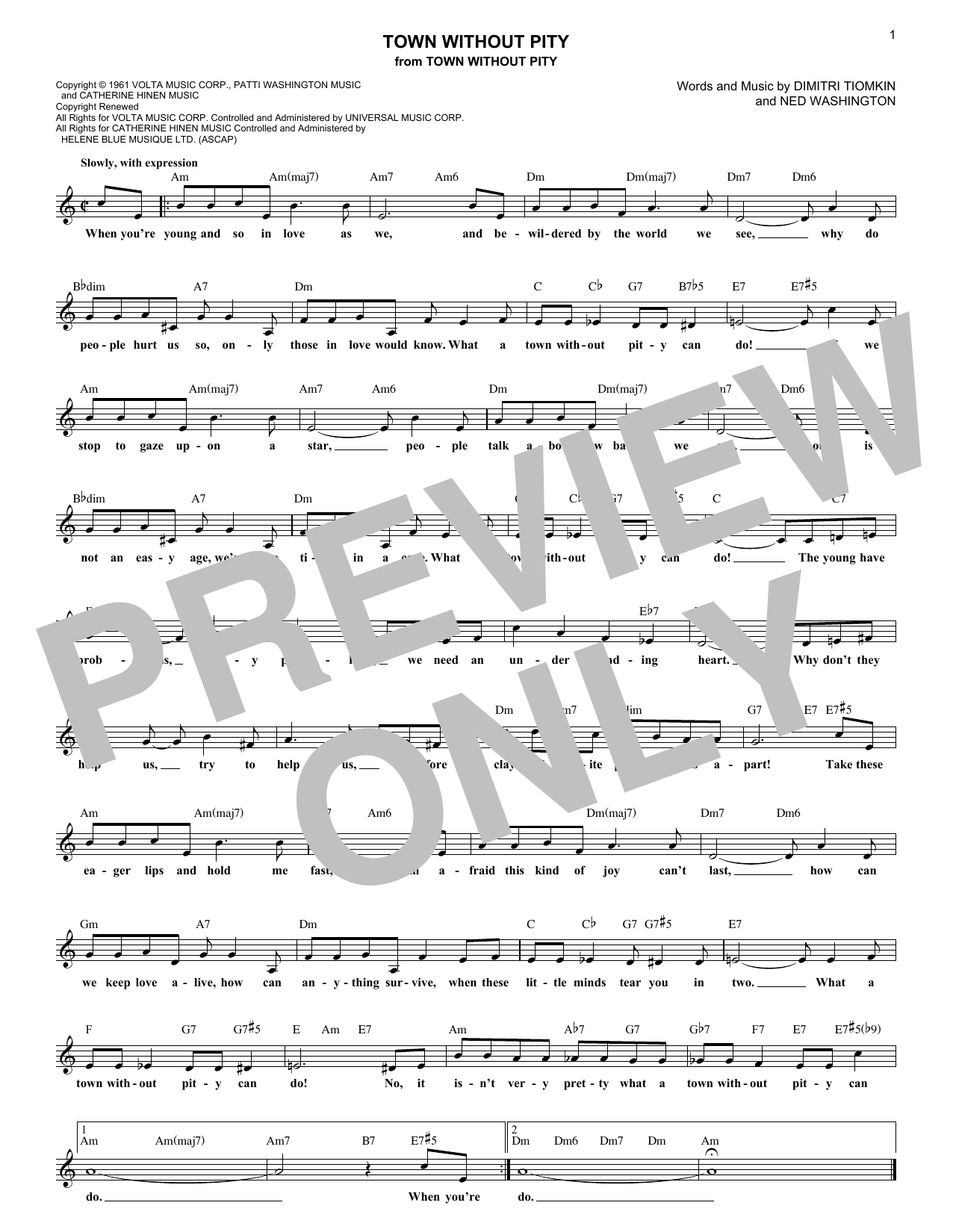 Town Without Pity (Lead Sheet / Fake Book)