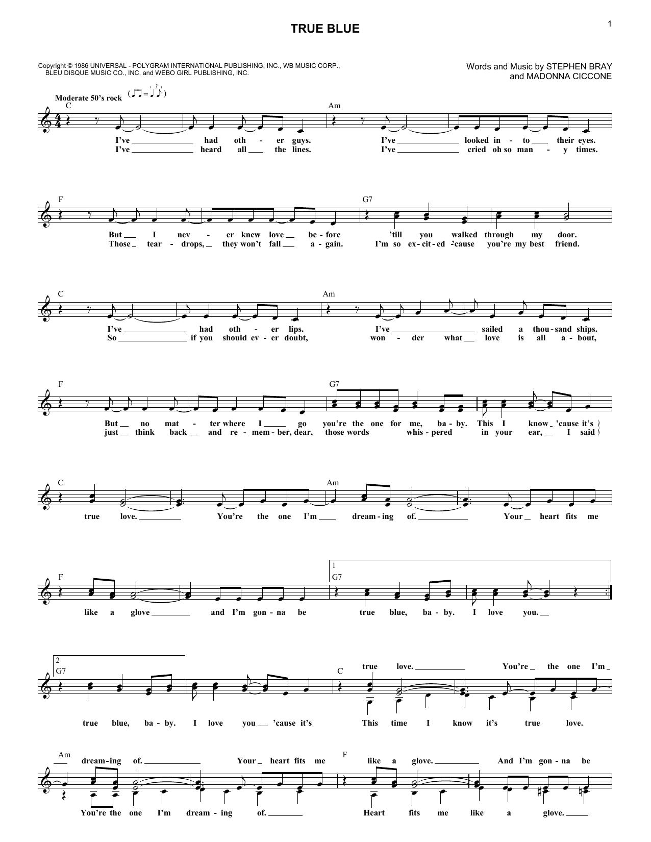 True Blue Sheet Music