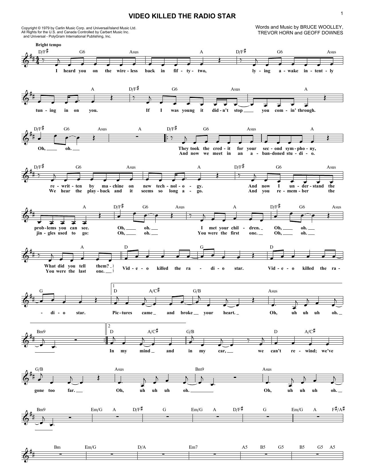 Video Killed The Radio Star Chords By Buggles Melody Line Lyrics