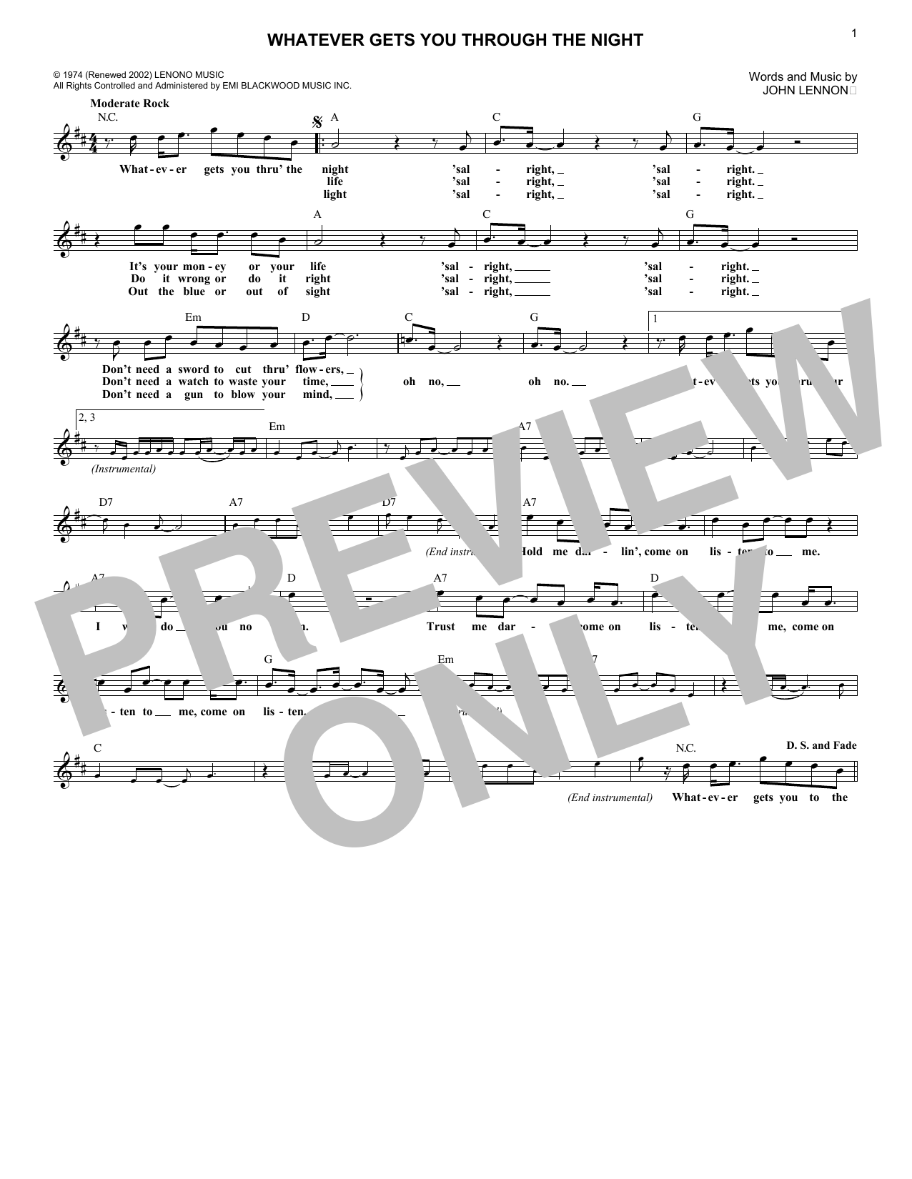 Whatever Gets You Through The Night Sheet Music