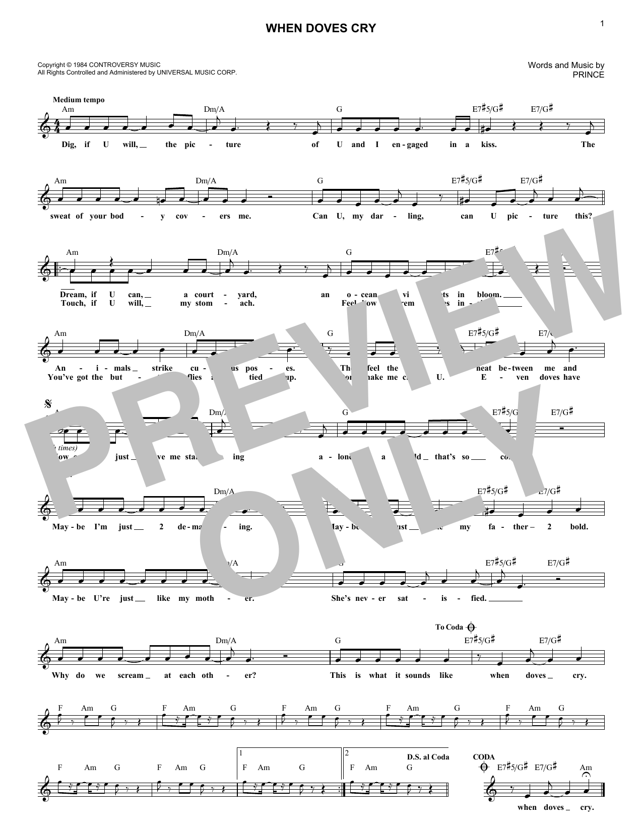 When Doves Cry (Lead Sheet / Fake Book)