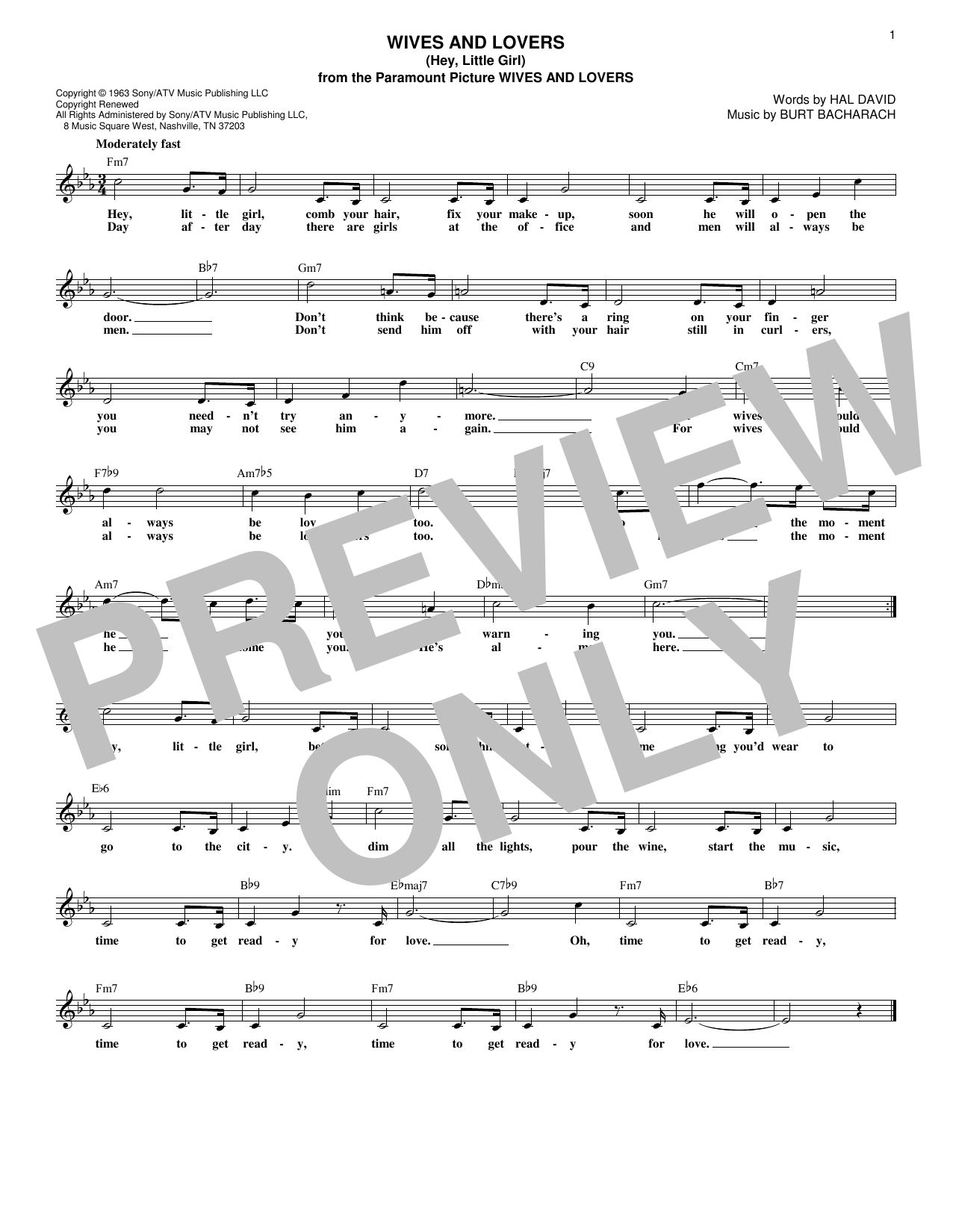Wives And Lovers (Hey, Little Girl) (Lead Sheet / Fake Book)