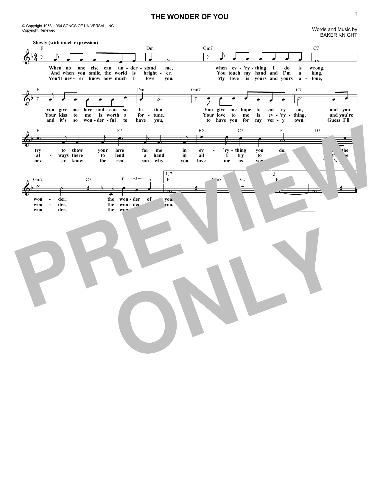 The Wonder Of You (Lead Sheet / Fake Book)