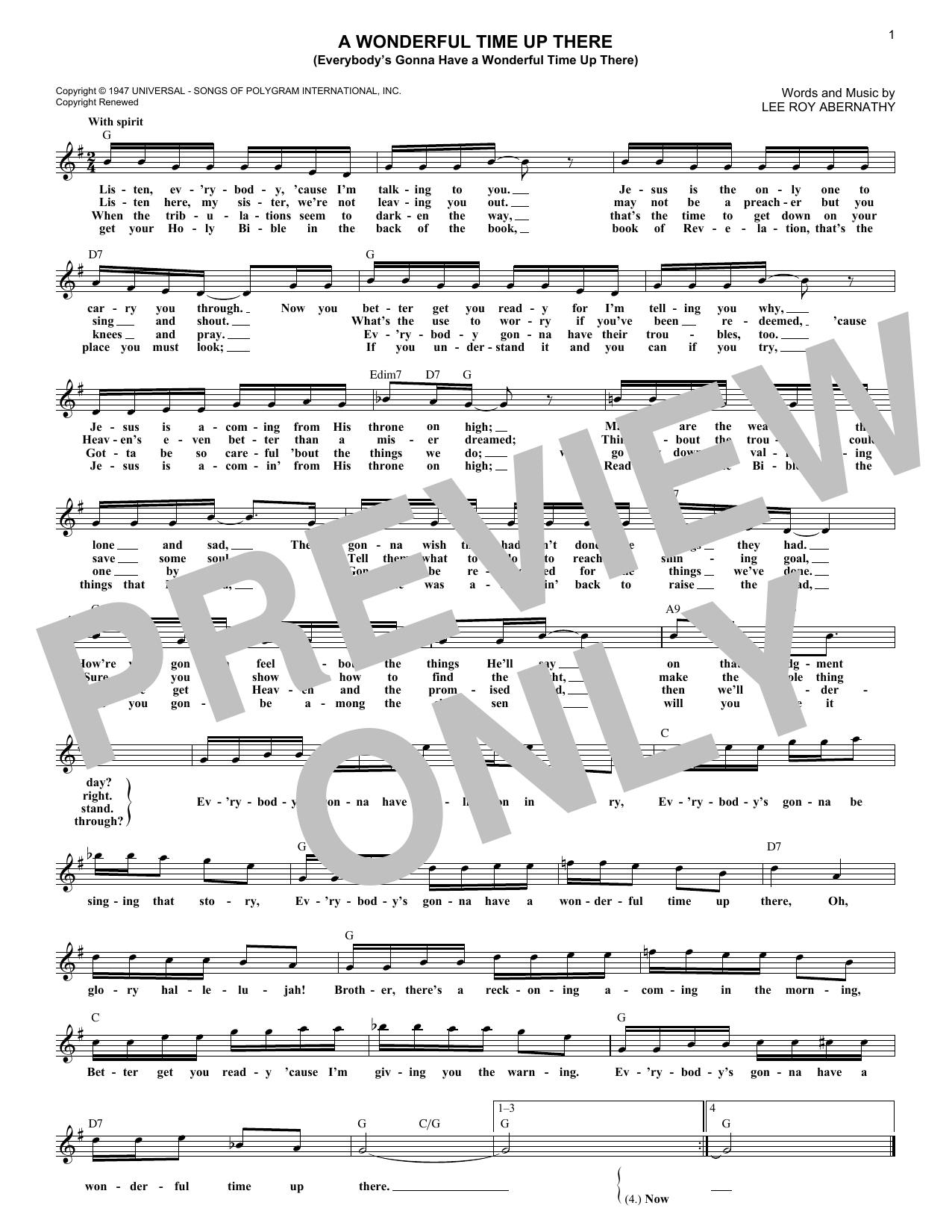 A Wonderful Time Up There (Everybody's Gonna Have A Wonderful Time Up There) (Lead Sheet / Fake Book)