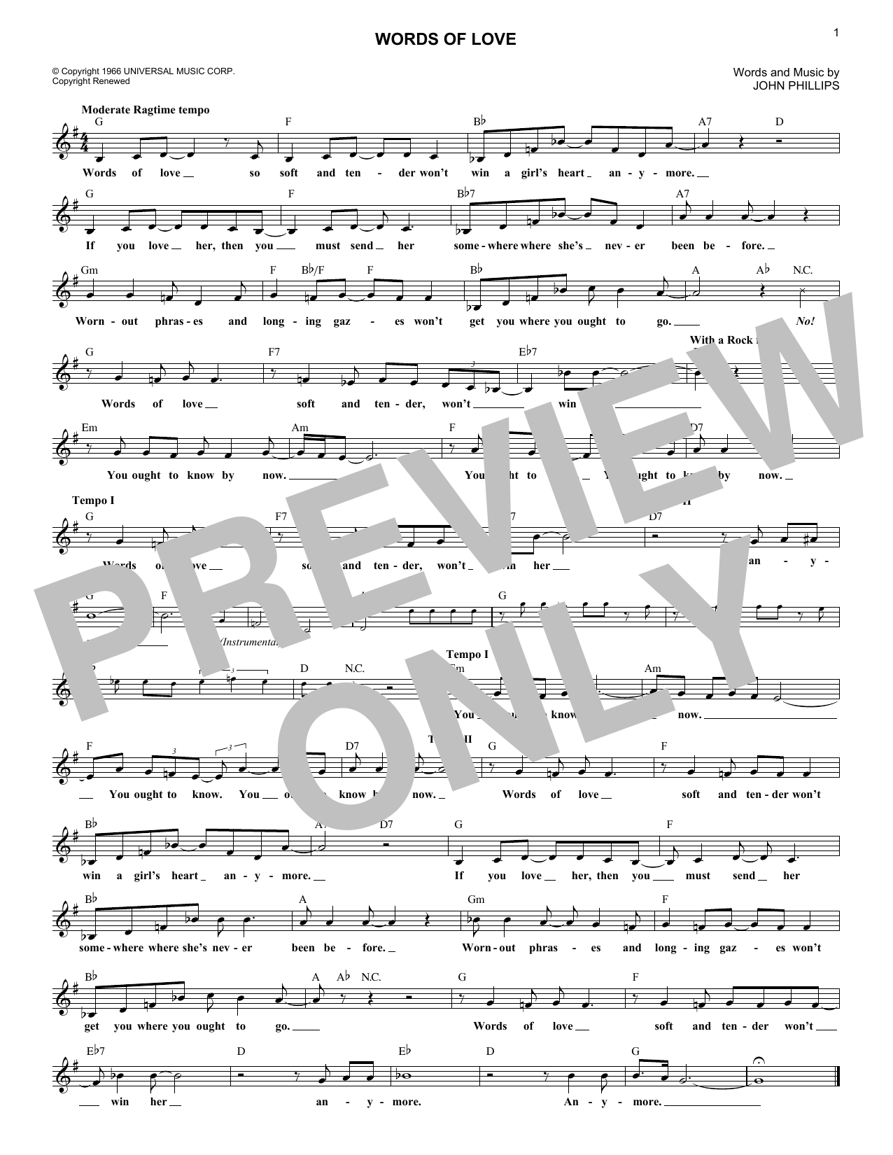 Words Of Love (Lead Sheet / Fake Book)