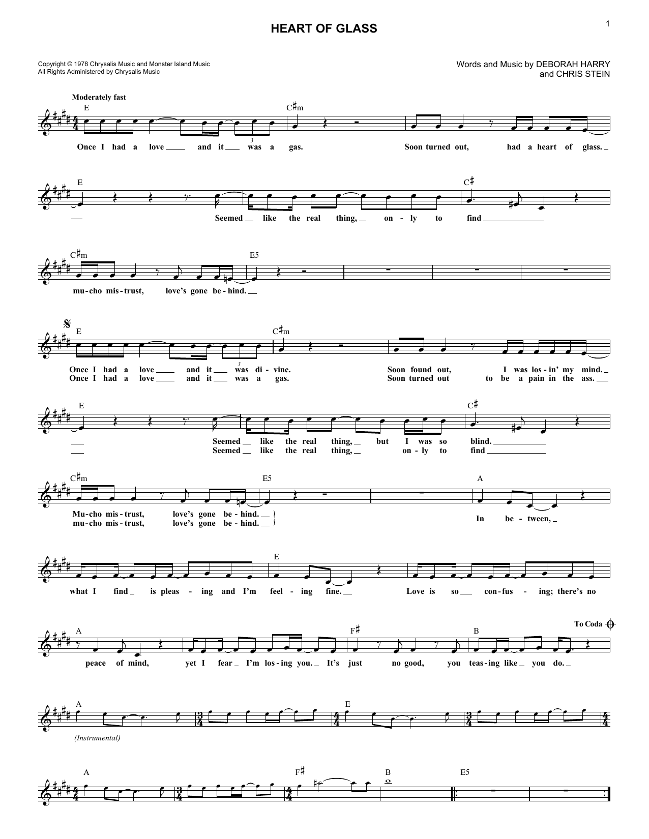 Heart Of Glass (Lead Sheet / Fake Book)
