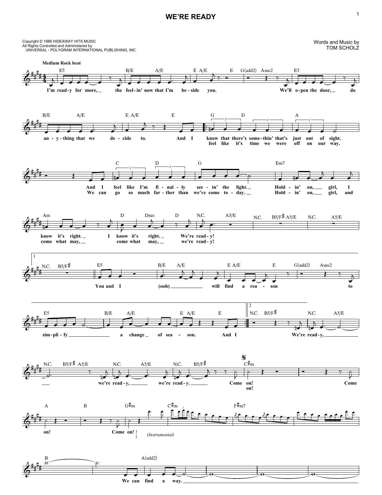 We're Ready (Lead Sheet / Fake Book)