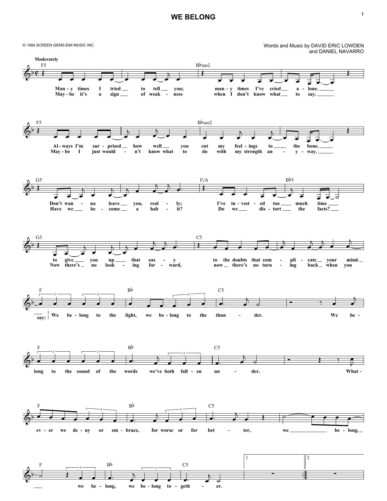 We Belong Sheet Music Pat Benatar Melody Line Lyrics Chords