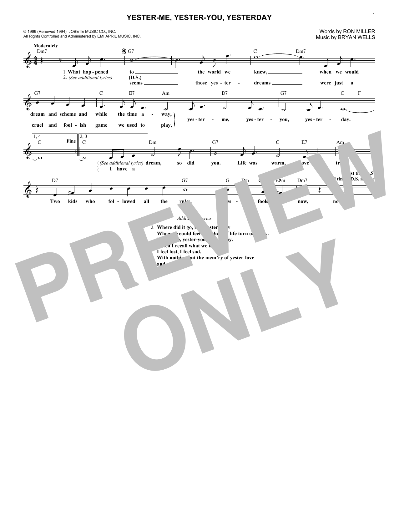 Yester-Me, Yester-You, Yesterday (Lead Sheet / Fake Book)