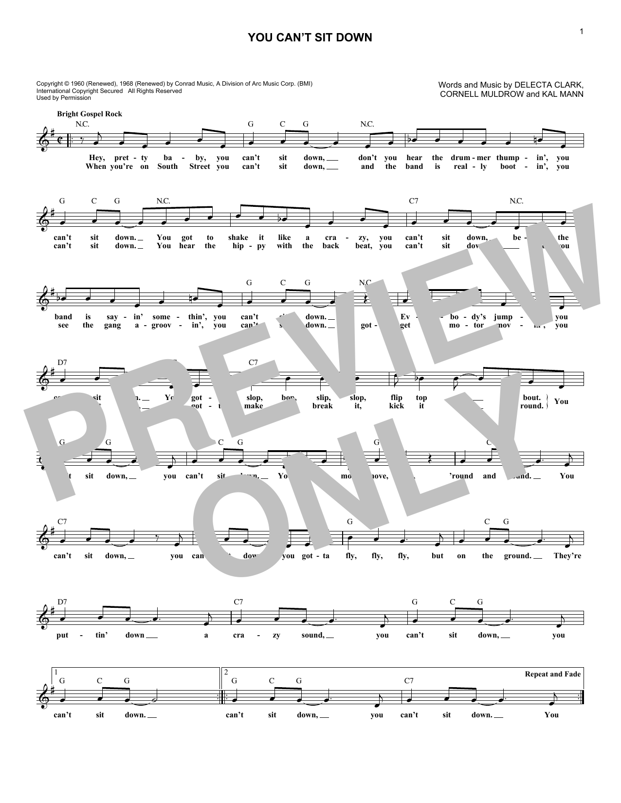 You Can't Sit Down (Lead Sheet / Fake Book)