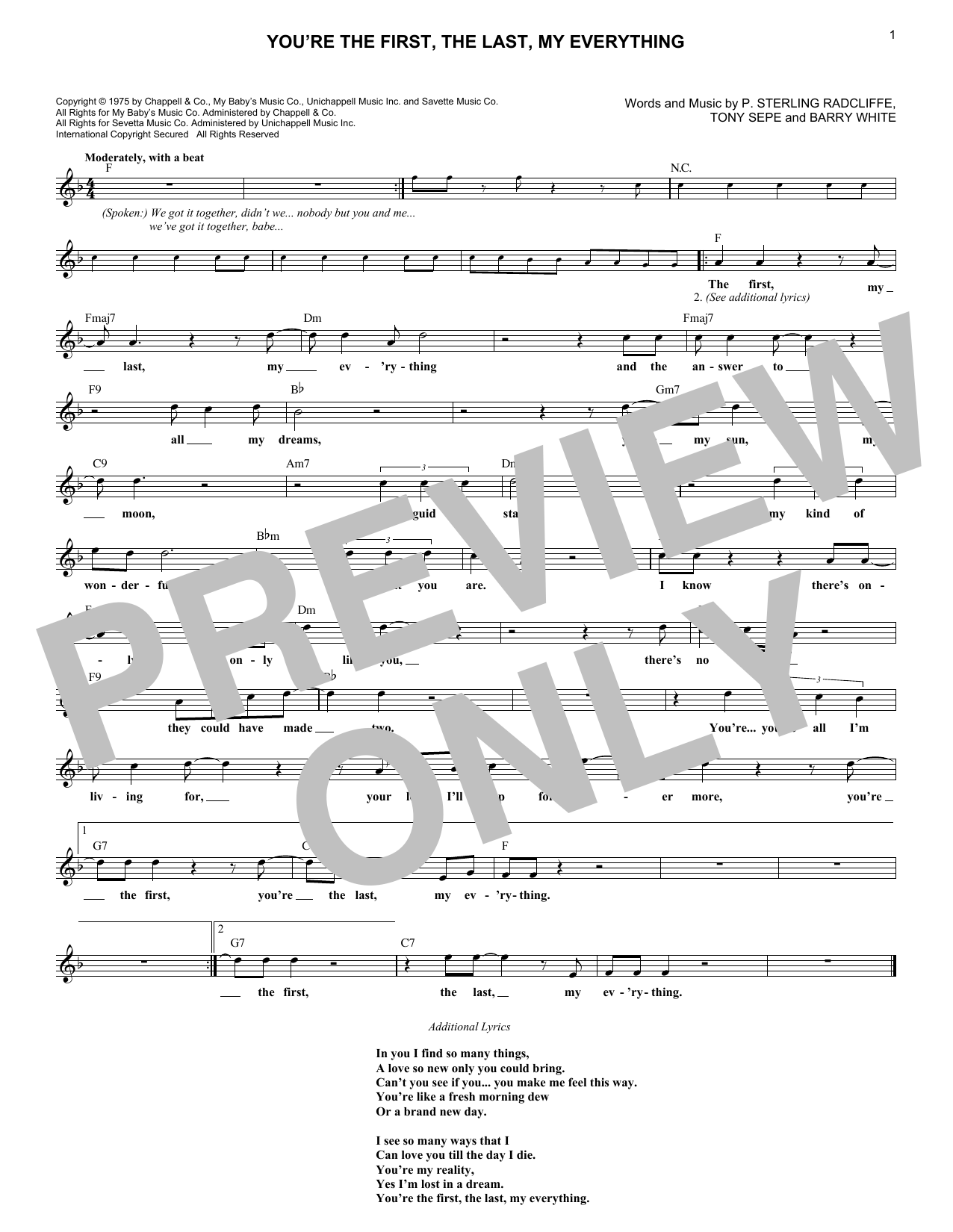 You're The First, The Last, My Everything (Lead Sheet / Fake Book)