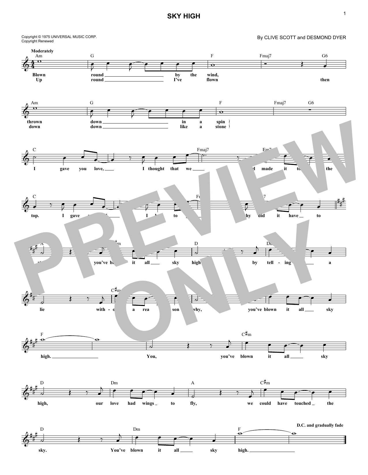 Sky High (Lead Sheet / Fake Book)