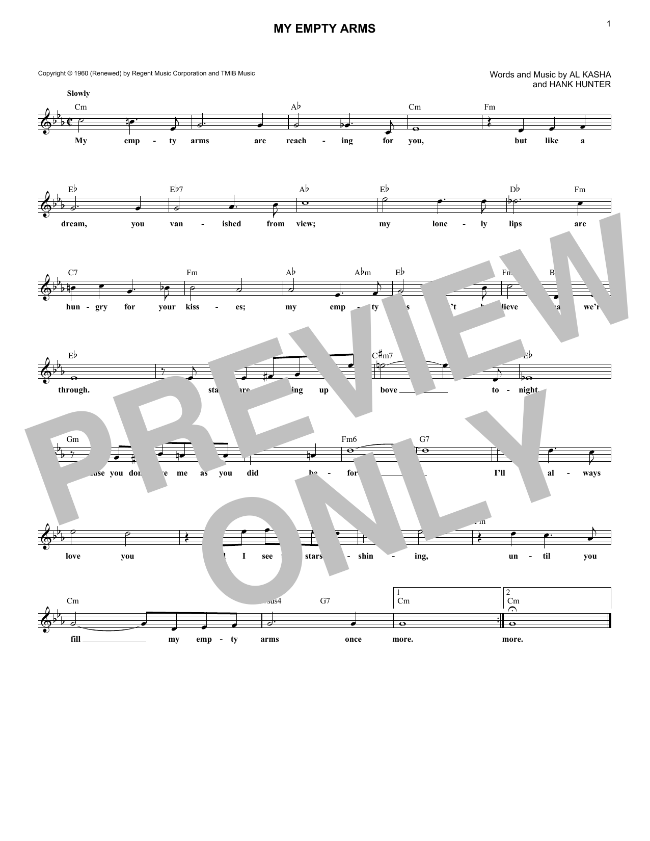 My Empty Arms (Lead Sheet / Fake Book)