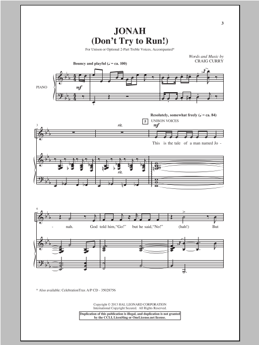 Jonah (Don't Try To Run!) Sheet Music