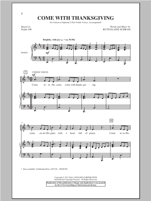 Come With Thanksgiving Sheet Music