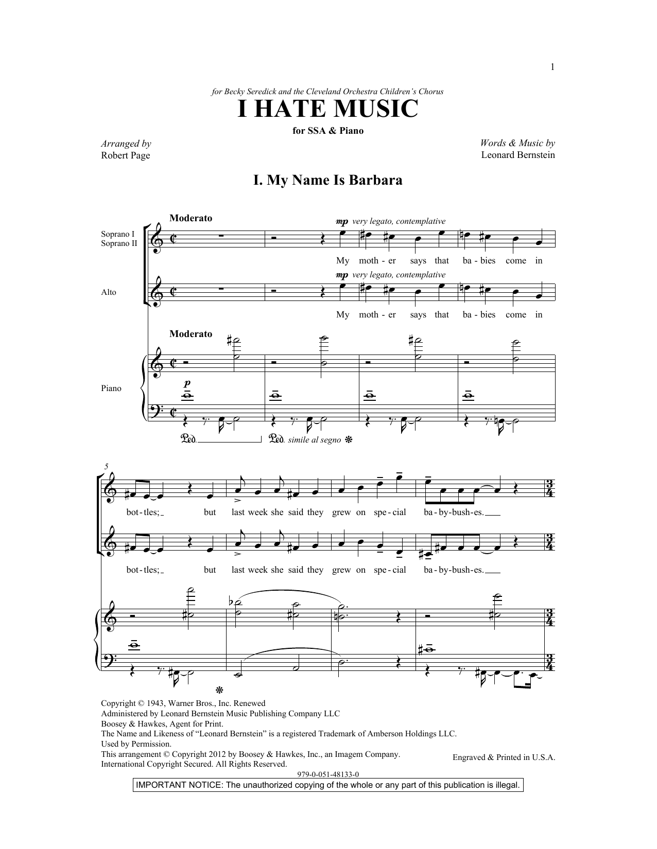 My Name Is Barbara (arr. Robert Page) Sheet Music