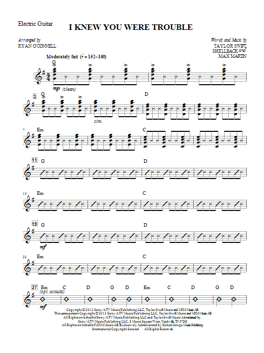 I Knew You Were Trouble (complete set of parts) sheet music for orchestra/band by Ryan O'Connell and Taylor Swift. Score Image Preview.